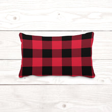 Red & Black Plaid-Lumbar Pillow Cover