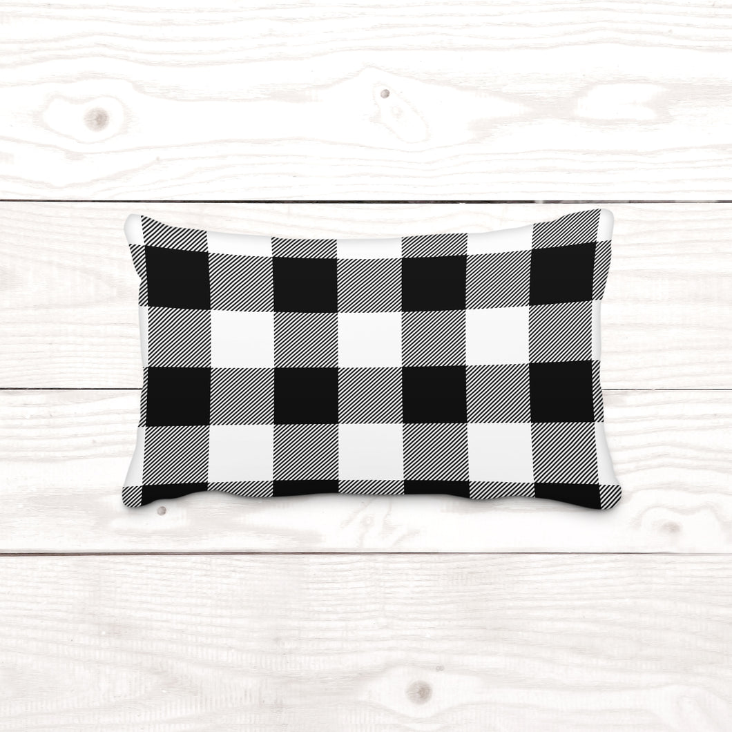 White & Black Plaid-Lumbar Pillow Cover