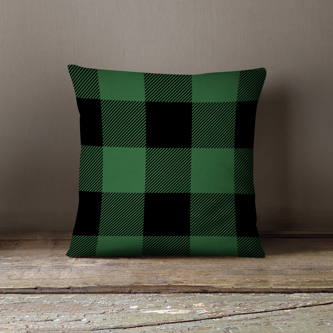 Green & Black Plaid-Pillow Cover