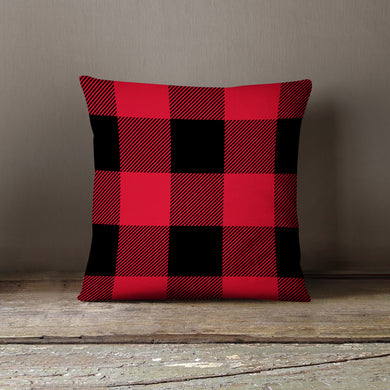Red & Black Plaid-Pillow Cover