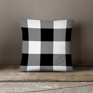 White & Black Plaid-Pillow Cover