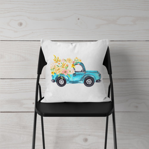 Watercolor-Truck w Spring Flowers-Pillow Cover