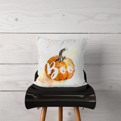 Watercolor Pumpkin Boo-Pillow Cover