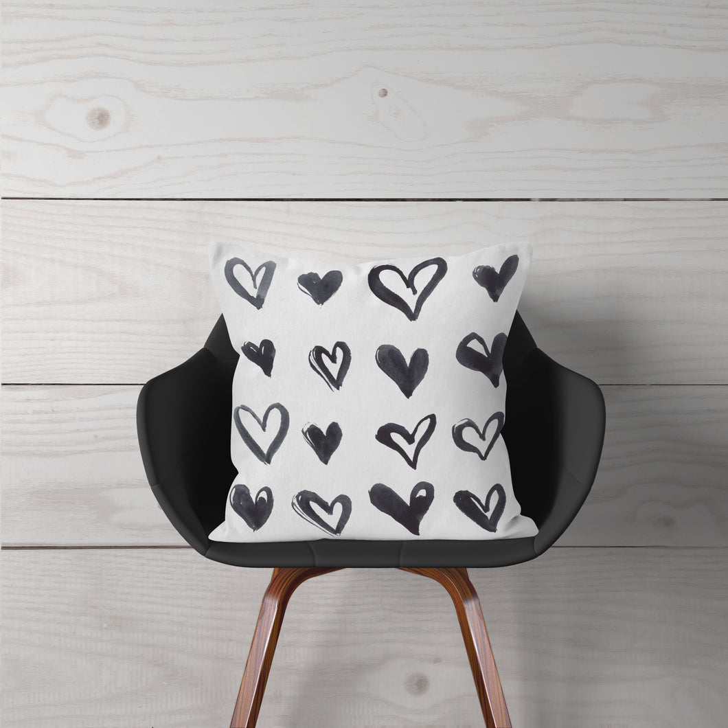 Watercolor Black Hearts-Pillow Cover