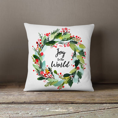 Watercolor Joy to the World Wreath-Pillow Cover
