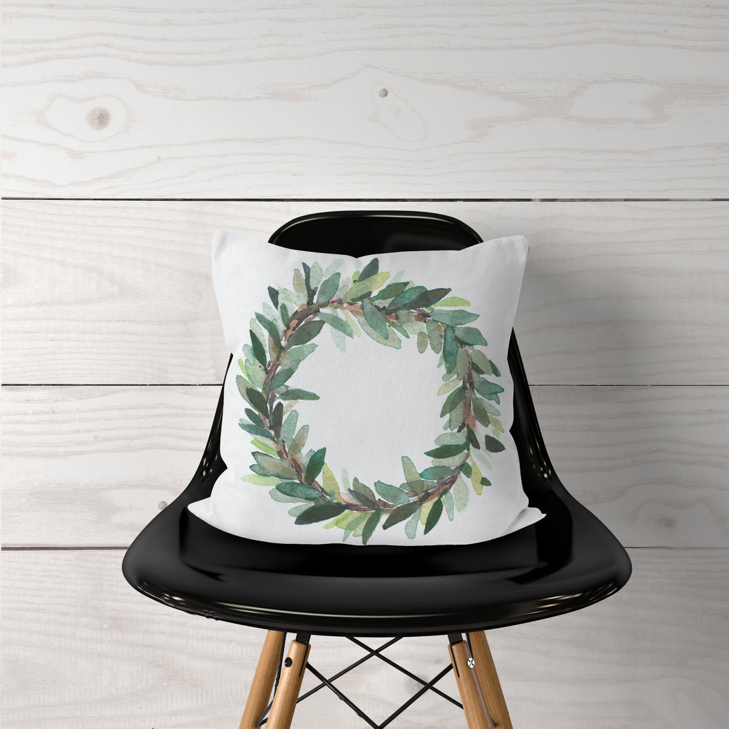 Watercolor Olive Leaf Wreath-Pillow Cover