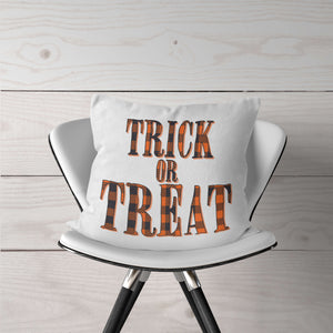 Orange Plaid Trick-Or-Treat Pillow Cover