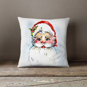 Watercolor Christmas Santa-Pillow Cover
