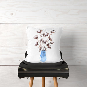 Watercolor-Cotton Stems Vase-Pillow Cover