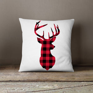 Red & Black Plaid Deer-Pillow Cover