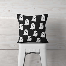 Black with White Ghosts-Pillow Cover