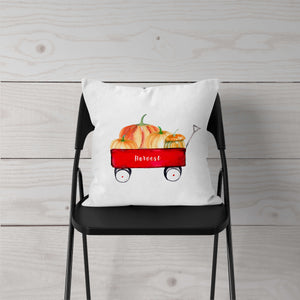 Watercolor Red Wagon Pumpkins-Pillow Cover