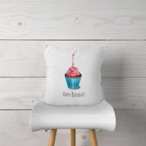 Watercolor Birthday Cupcake-Pillow Cover