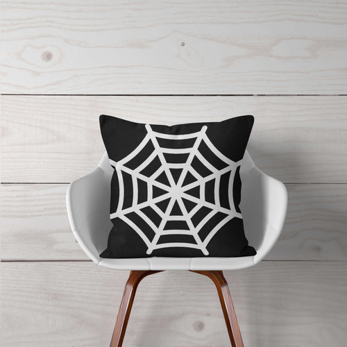 Black with White Spider Web-Pillow Cover