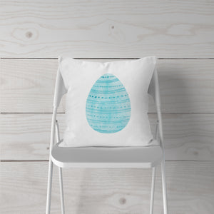 Watercolor-Blue Easter Egg-Pillow Cover