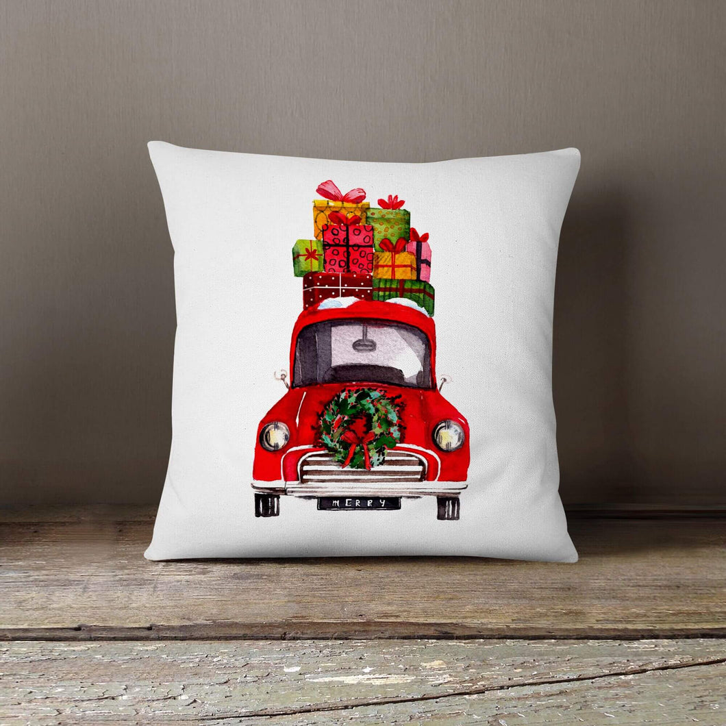 Watercolor Christmas Car with Presents-Pillow Cover