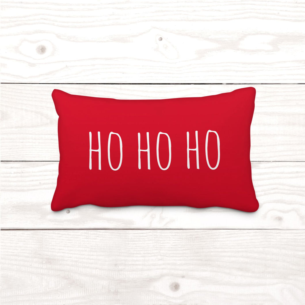 Red HO HO HO-Rectangle Lumbar