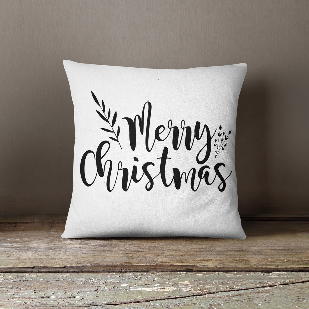 Black Merry Christmas-Pillow Cover