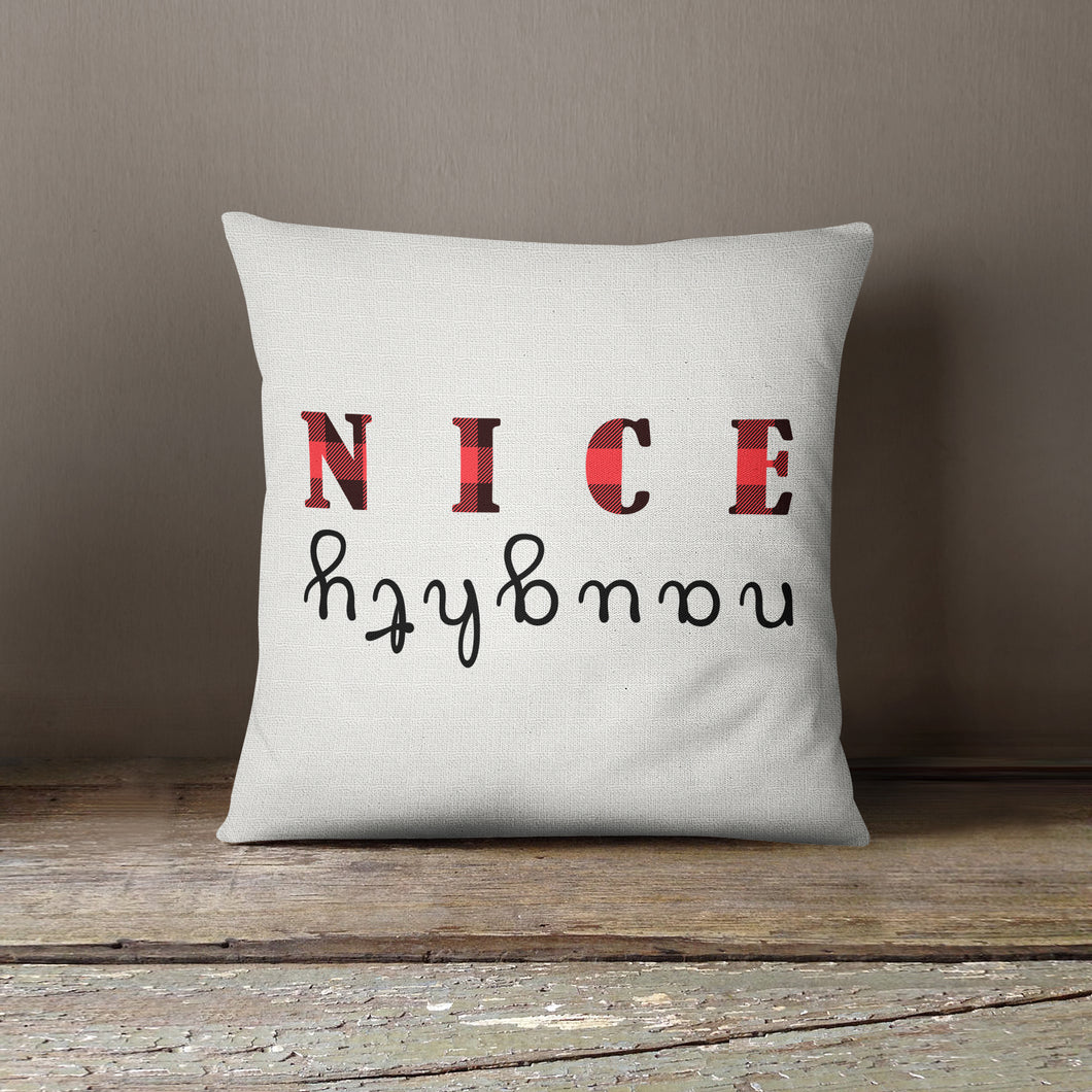 Naughty & Nice Plaid Throw Pillow Covers