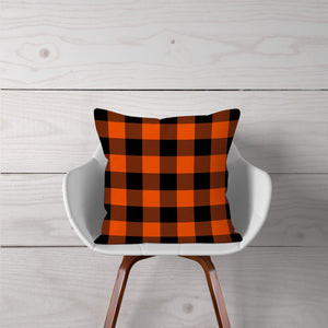 Orange & Black Plaid-Pillow Cover