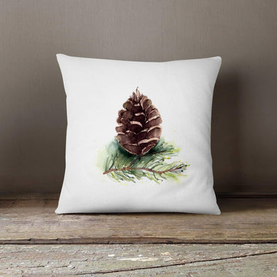 Watercolor Pinecone-Pillow Cover