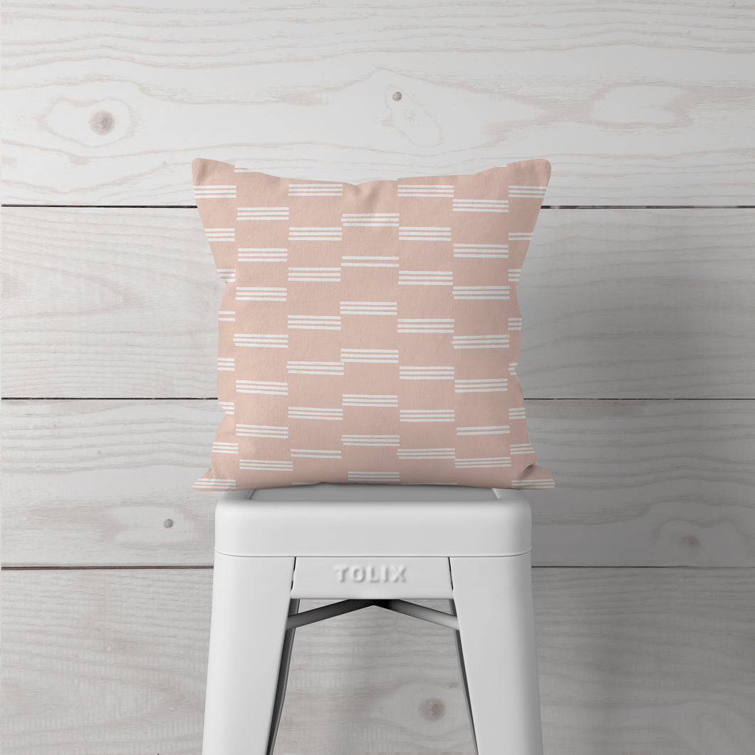NEW!  Pale Pink w White Lines-Pillow Cover