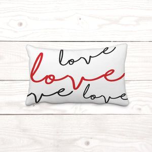 Rectangle- Cursive love-Pillow Cover