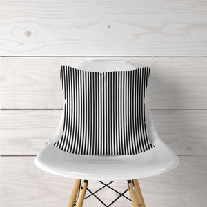 Thin Black & White Stripe Accent Pillow Cover