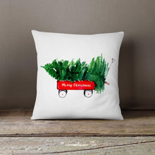Watercolor Red Wagon with Tree-Pillow Cover