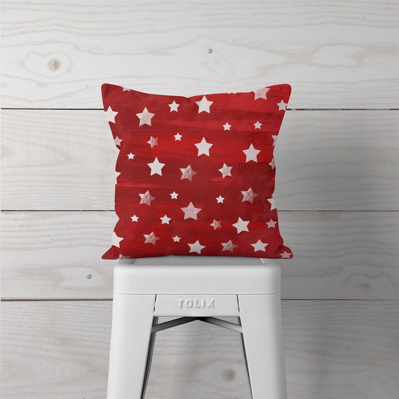 Red w/White Stars-Pillow Cover