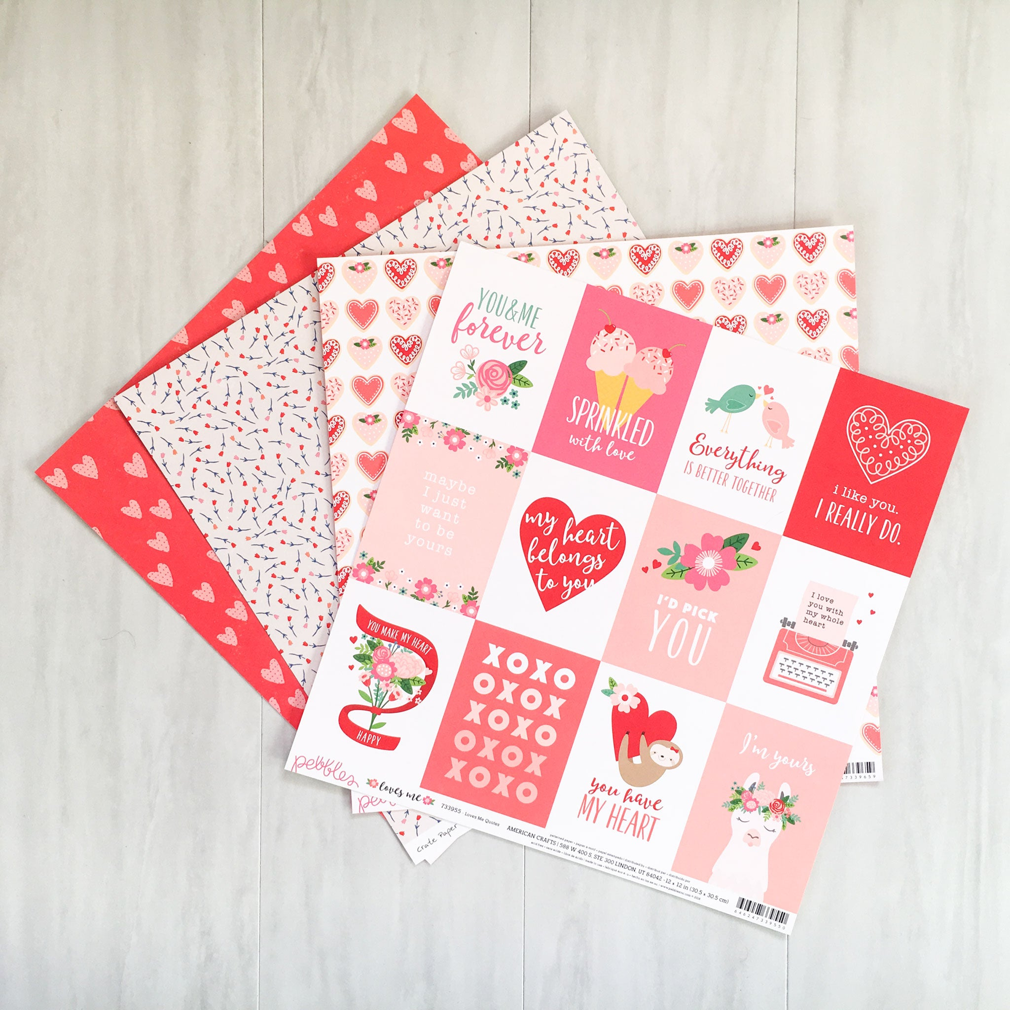 """HUGS & KISSES"" PATTERNED PAPER ADD-ON"