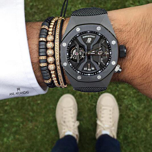 Pave Black Zircon Connector Bracelet for Men