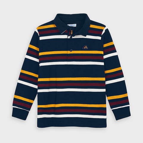 4132 - Long Sleeve Polo Deep Blue Stripe