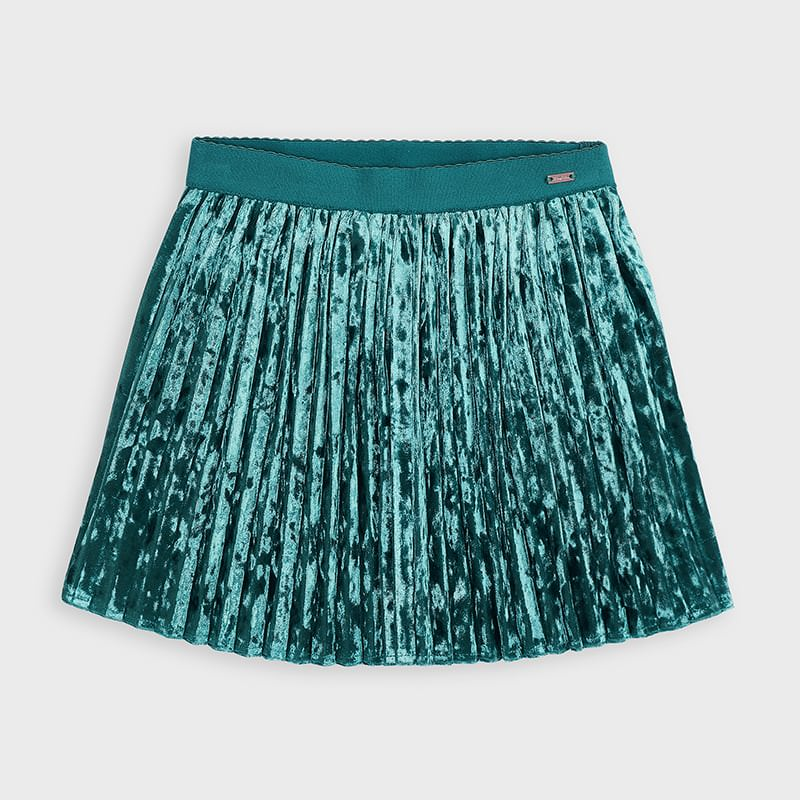 4955 - Pleated Velour Skirt - Turquoise