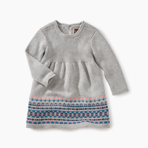 Baby Sweater Dress - Med Heather Gray