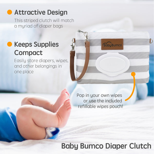 Diaper and Wipe Clutch - Gray
