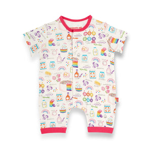 Magnetic Organic Cotton Romper - Rainbow Sprinkles