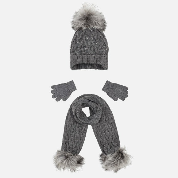 Girls Hat, Scarf and Glove Set - Steel