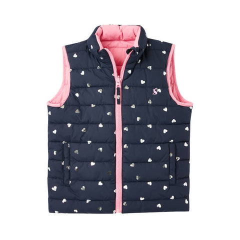 Girls Reversible Puffer Vest - Silver Hearts