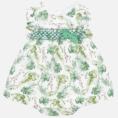 1879 Smocked Infant Dress - Safari