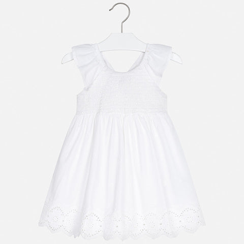 3950 Eyelet Flutter Dress - White