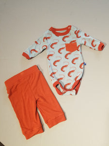 Print Long Sleeve Pocket One piece and Pant Outfit Set (2 Colors)