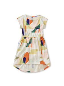 High-Low Tie Waist Dress - Grecian Cityscape