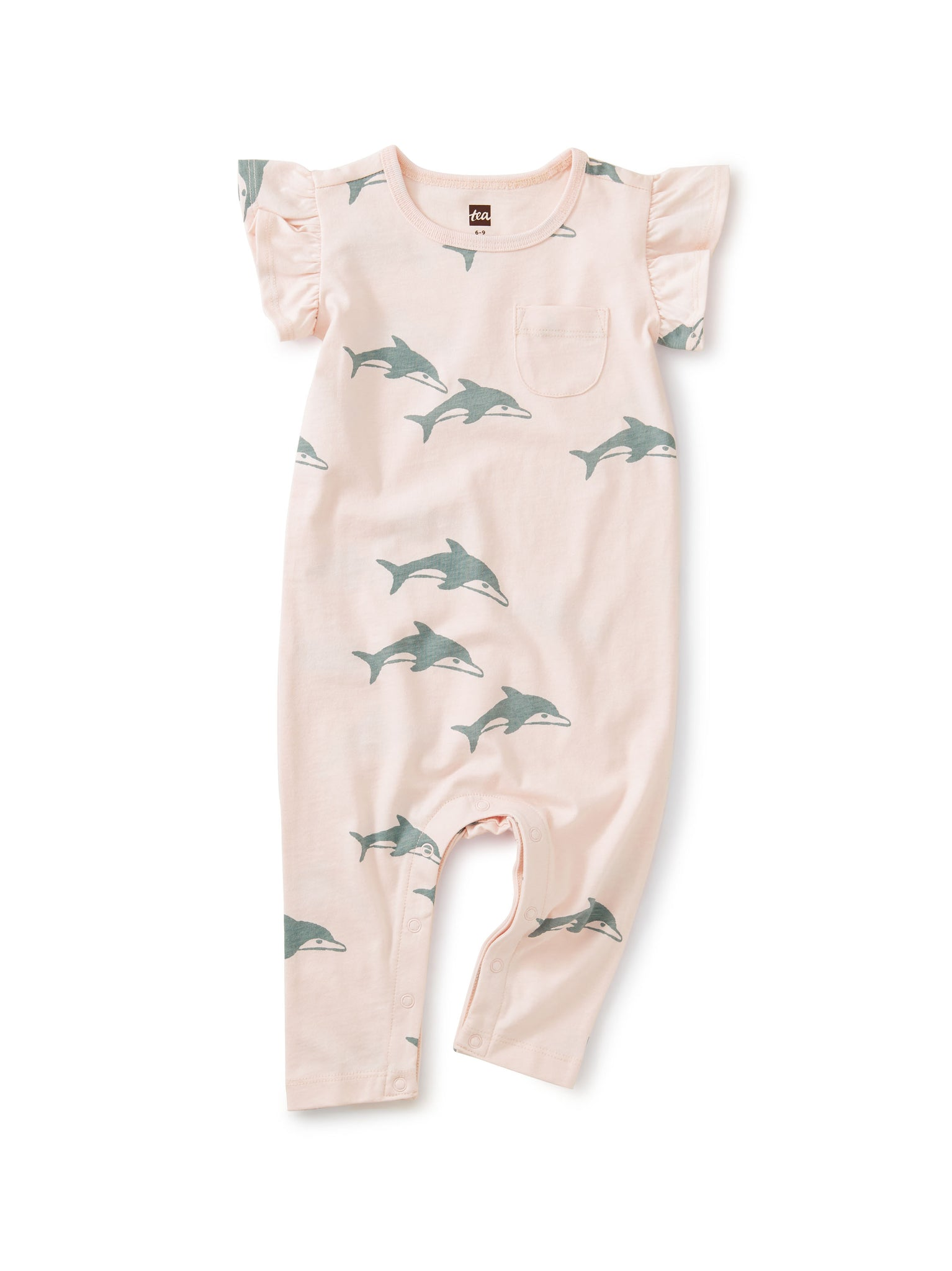 Ruffle Sleeve Pocket Romper - Dolphins Crystal Pink