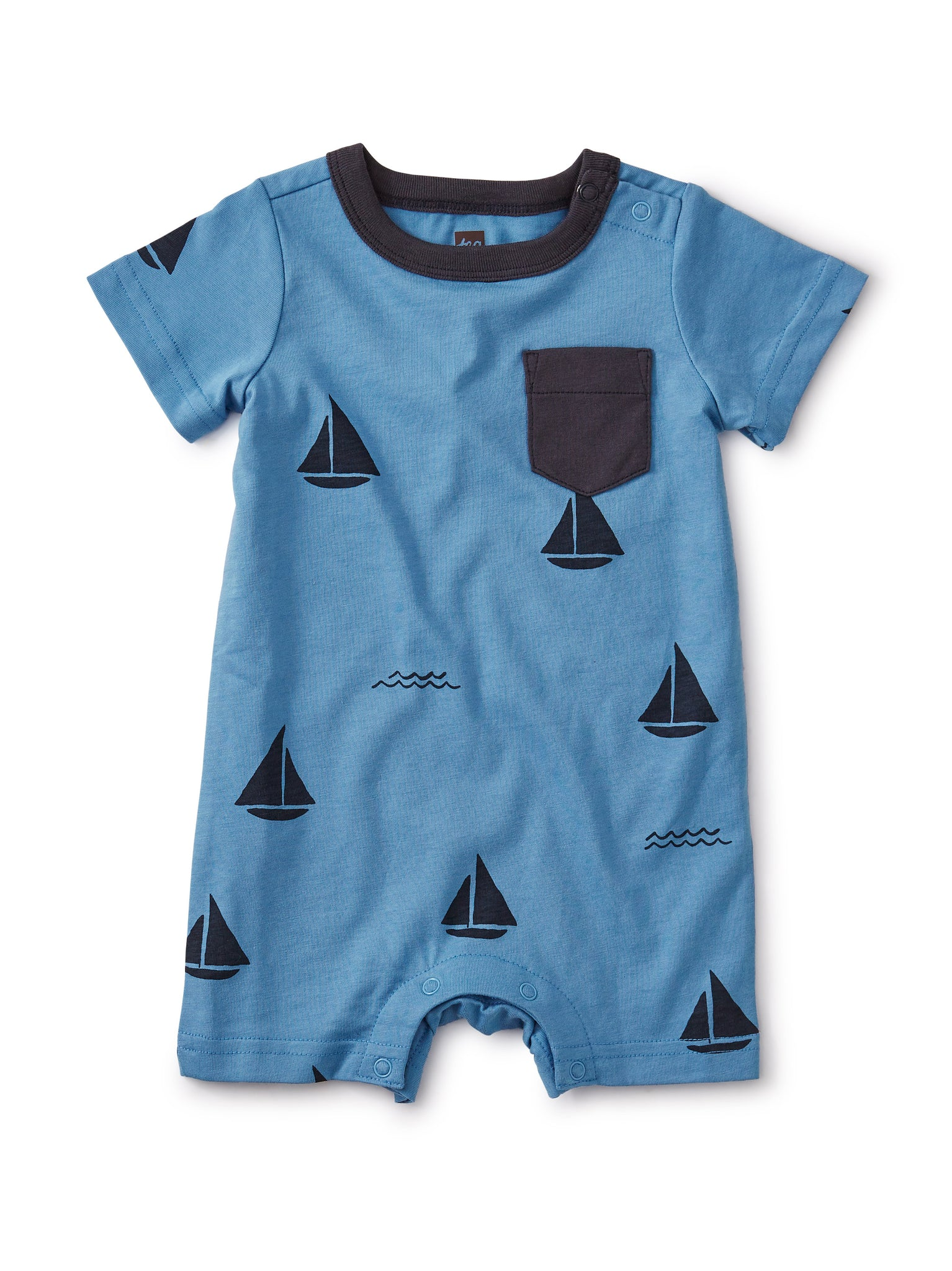 Printed Pocket Romper - Sailboats