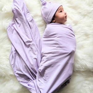 Knit Swaddle With Headband and Hat Bundle - Lilac