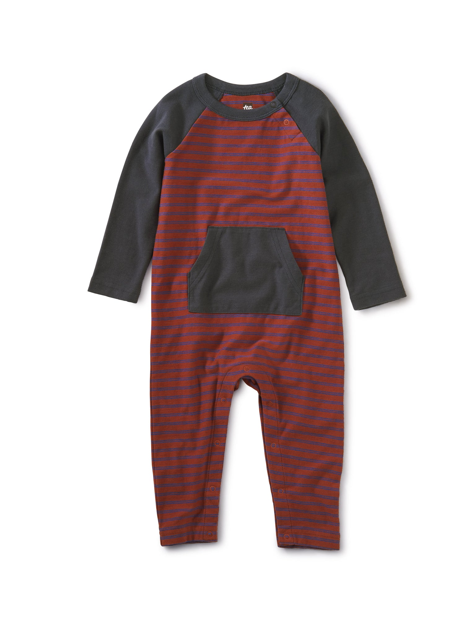 Striped Kanga Pocket Romper - Apple Red