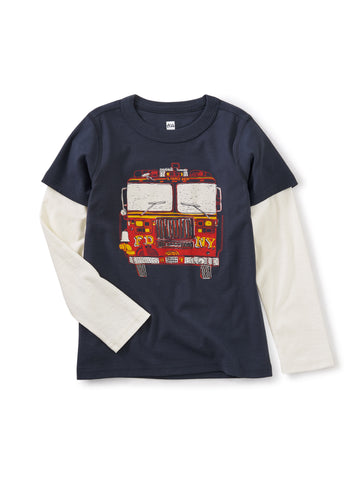 Fire Truck Layered Graphic Tee - Indigo