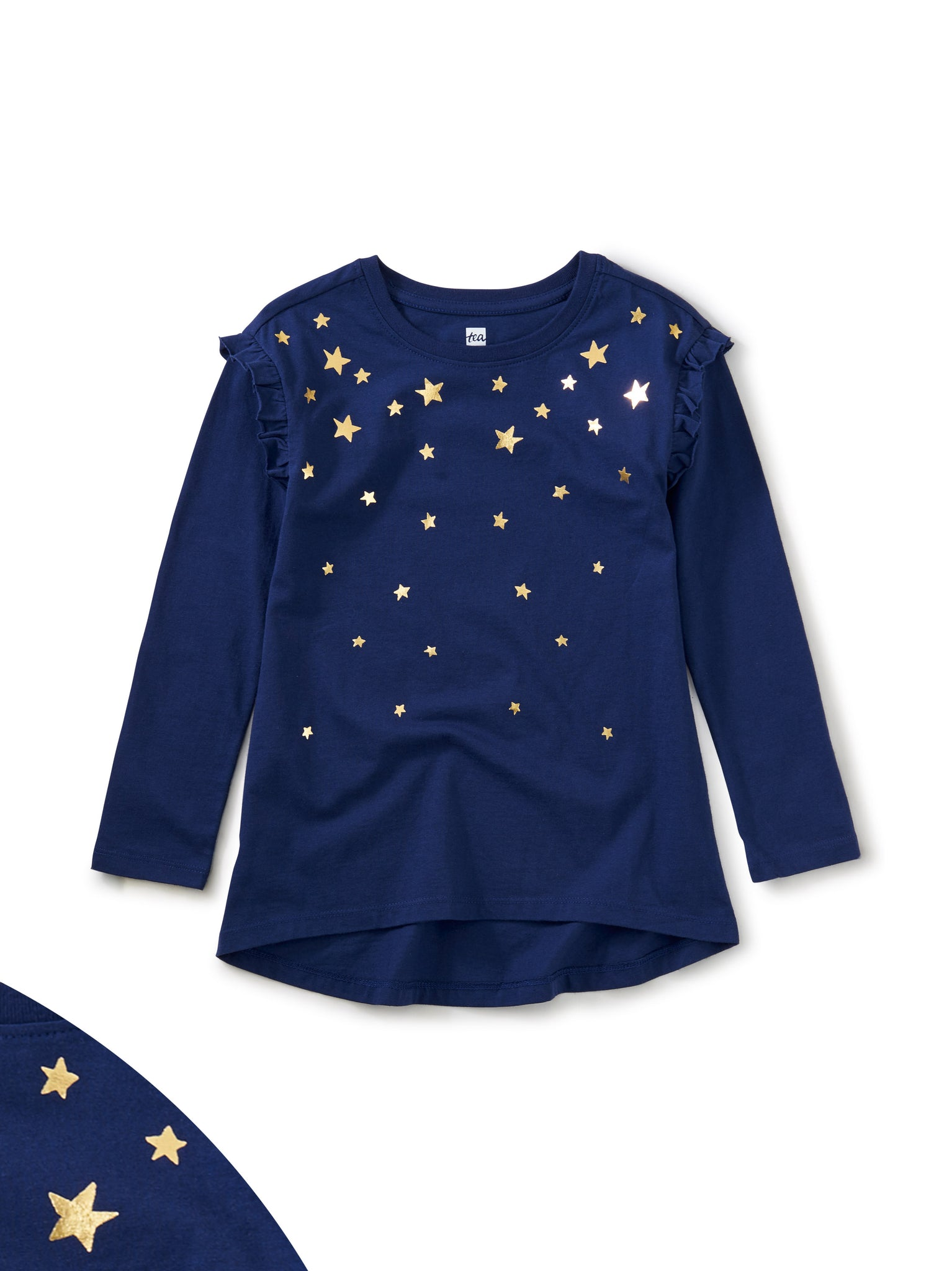 Star Struck Metallic Tunic Top - Blue Celeste