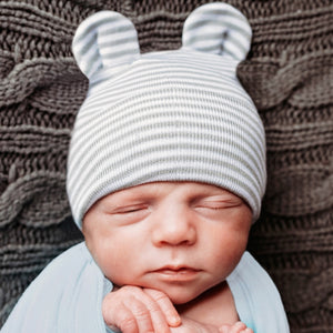Newborn Hat - Grey Stripe Ears